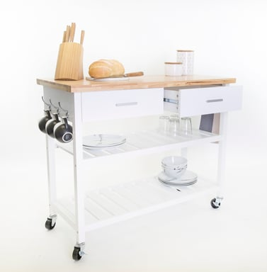 White Kitchen Island Trolley With Open Shelves Bunnings Warehouse