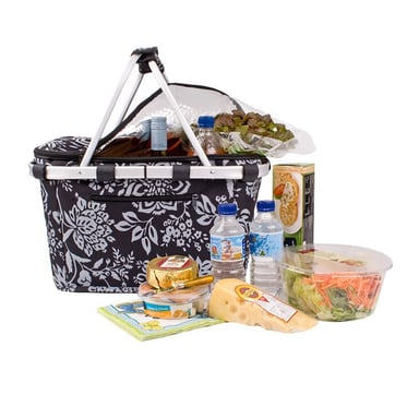 Sachi Insulated Carry Basket With Lid Camelia Black Bunnings Warehouse
