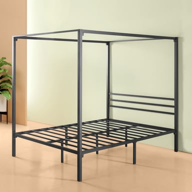 Zinus Patricia Black Metal Queen Four Poster Bed Frame Bunnings Warehouse