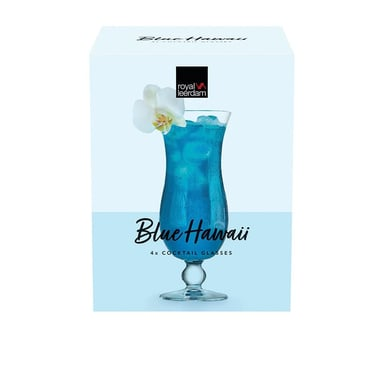 Royal Leerdam Cocktail Glasses Blue Hawaii Glass 440ml Set Of 4