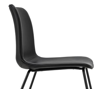 Sadel Set Of 2 Black Leatherette Dining Chairs Bunnings Warehouse