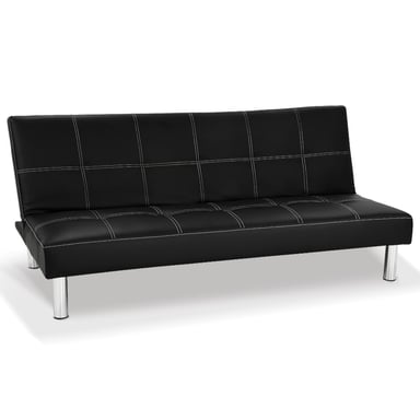Sarantino Chelsea 3 Seater Black Faux Leather Sofa Bed Couch