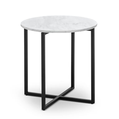 Ellie White Marble Black Round Side Table Bunnings Warehouse
