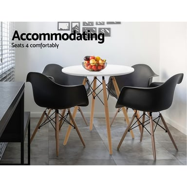 Artiss Replica Eames 4 Seater 60cm White Round Dining Table